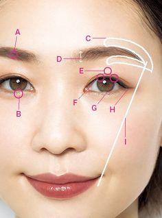 一重さんのアイメイク|腫れぼったい一重でもOK!ナチュラルメイク、アイライン&アイシャドウのHow toまとめ | 美的.com Beauty Care, Beauty Makeup, Eye Makeup, Hair Makeup, Hair Beauty, Eyeliner Tape, Browning Tattoo, Clear Skin, Eyebrows