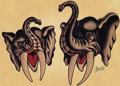 Sailor Jerry elephant tattoo