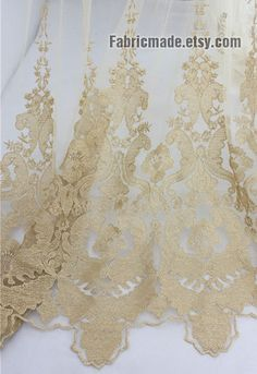 Golden Heavy Embroidery Lace Fabric, Border Lace Fabric in Tulle, Wedding Bridal Rococo Lace - Lace by yard 1/2 Yard  Ask a Question €6.67 E...