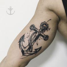 Tattoo By Felipe Bernardes, brazilian Tattoo Artist | watercolor Ancora - Anchor #tattoo #tatuagem #tatuador #capixaba #watercolor #aquarela #tattooartist #nyc #ny #guest #ancora #anchor #sea #felipebernardes #tattrx #txttoo #tattoo2me #equilattera #sketch