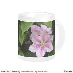 Pink Lily ( Clematis) Frosted Glass Style 10 Oz Frosted Glass Coffee Mug