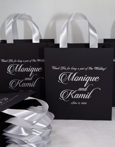 25 Black & Silver Wedding Welcome Bags with satin ribbon handles and your names, Elegant Personalized Wedding gifts and favors for guests Wedding Thank You Gifts, Wedding Gift Bags, Wedding Favors For Guests, Personalized Gift Bags, Personalized Wedding Favors, Monogram Gifts, Destination Wedding Welcome Bag, Wedding Welcome Bags, Black Silver Wedding
