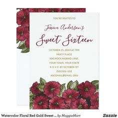 Watercolor Floral Red Gold Sweet 16 Birthday Card #sweet16 #sweetsixteen #red #gold #watercolor #floral #botanical #invitations #birthday #zazzle