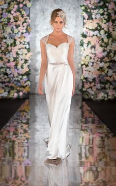 Martina Liana 546   This sheath wedding dress in fine Persian Silk Satin embodies a blend of couture customization and exquisite design details that has made Martina Liana a global name in designer wedding dresses