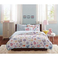 Kids Girls Pink Purple Blue Yellow White Twin Coverlet/ Sheet Set Garden Themed Bedding Flower Floral Butterfly Lady Bug Cute Adorable Stylish Sweet
