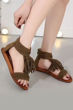 b6280a9c9 Fringe Bead Zip Back Thong Flat Sandals