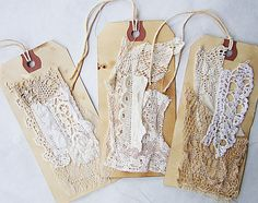 I've been digging into my stash of lace and fabric pieces and they are perfect sewn onto tags! Vintage Tags, Vintage Gifts, Card Tags, Gift Tags, Fabric Journals, Handmade Tags, Pocket Letters, Scrapbook Embellishments, Artist Trading Cards