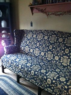 Our new couch ! Took 15 weeks to get . It had to be special order, but it was so worth it ❤️ It is black and mustard , but the picture makes it look blue .