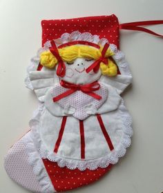 Angel Christmas Stocking hand embroidered Red White by AggieRay, $85.00
