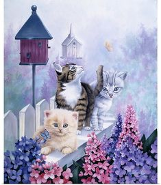 Cats In Front Of The Birdfeeder Wall Art, Canvas Prints, Framed Prints, Wall Peels Animal Paintings, Animal Drawings, Animals And Pets, Cute Animals, Cat Castle, Cute Cats And Kittens, Cat Drawing, Cat Memes, Cat Art