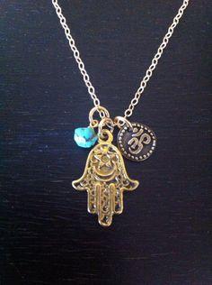 Evil Eye Hamsa Hand Necklace with Genuine by RedGypsyJewelry