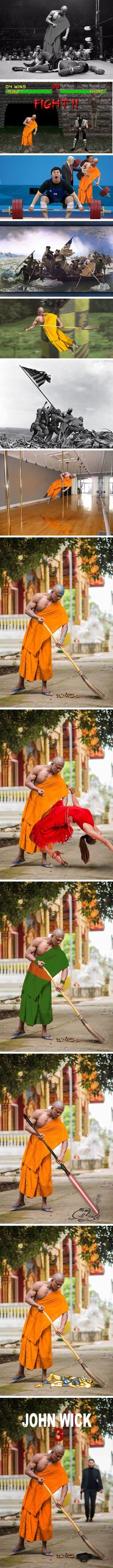 Legendary Muay Thai Fighter Becomes Buddist Monk Triggers Photoshop Battle