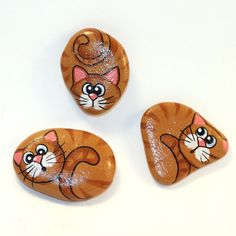 Set of 3 Cat Magnets  Painted Rocks  Cat by PetRocksbyTheresa