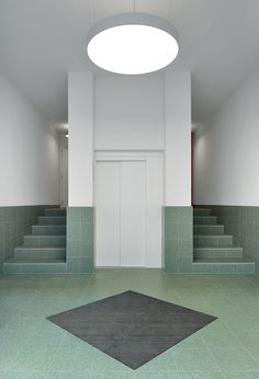 Residential block of meta. Aarchitecten and de vylder vinck taillieu / tile and gloss in the antwerp - architecture and architects - news / news / news Lobby Interior, Arch Interior, Home Interior Design, Art And Architecture, Architecture Details, Habitat Groupé, Staircase Railings, Stairs, Flur Design