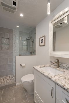 Transitional 3/4 Bathroom with Flat panel cabinets, Complex granite counters, Toto Aquia II Residential Close Coupled Toilet