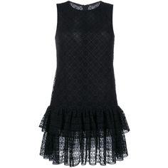 PHILOSOPHY Ruffle Hem Dress ($585) ❤ liked on Polyvore featuring dresses, layered dress, flounce dress, frilly dress, sleeveless dress and ruffle dress