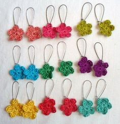 Little flower crochet earrings- could do matching hair clip (larger w/multi colors)