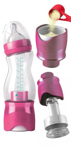 B.Box Baby Bottle - Put the formula in the bottom and water in the top. Simply twist the bottom to release the formula when you're ready to use it! #brilliant