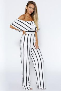 c7f53be33c5 Esther Off The Shoulder Stripe Wide Leg Jumpsuit