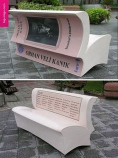 creative park bench is designed to look like an open book by Orhan Veli Kanik, a Turkish poet and one of the founders of Garip Movement, a different type of Turkish poetry.