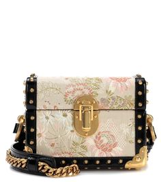 9c4aad338715 PRADA Leather-trimmed jacquard bag