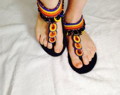 www.cewax.fr aime ces nu pieds en perles New Style/The African shop/Masai/Fashion/Handmade Sandals/African Clothing/Leather shoes/ Beaded Leather Sandals Size US 8 - 8 1/2