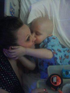 Tyler Seddon with mom Rachel in the hospital. Tyler has ALL.
