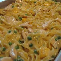 Super Easy Tuna Noodle Casserole. Recipe needs work. Try cream of chicken and only use two cups of noodles.