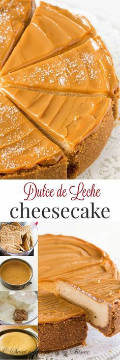 Decadent Dulce de Leche Cheesecake is part of food_drink - Sweet and creamy with touch of sea salt, this decadent dulce de leche cheesecake is quite a treat! Just Desserts, Delicious Desserts, Yummy Food, Desserts Caramel, Cheesecake Recipes, Dessert Recipes, Recipes Dinner, Soup Recipes, Chicken Recipes