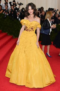 Plenty of our favorite stars have taken red-carpet inspiration from Disney princesses. Come see our favorites (like Katie Holmes in bright yellow Marchesa at the Met Ball).