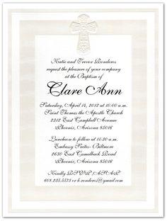 Clare's baptism invitations