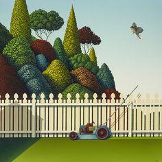Homage To The Lawnmower -med by Hamish Allan - prints Christchurch New Zealand, New Zealand Landscape, New Zealand Art, Nz Art, Kiwiana, Box Frames, Prints For Sale, Landscape Art, Backyard Landscaping