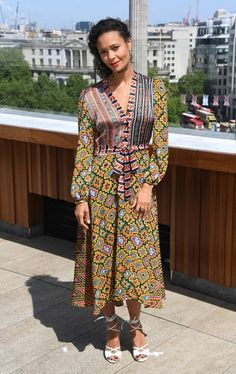 Thandie Newton Print Dress - Thandie Newton was boho-chic in a mixed-print dress at the 'Solo: A Star Wars Story' photocall in London.