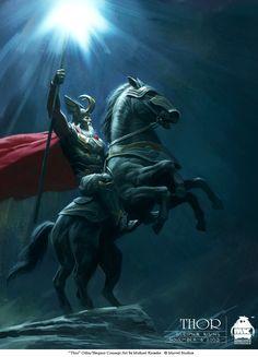 """Concept art for """"Thor: Odin on Sleipnir"""", his eight legged horse.  by Michael Kutsche"""