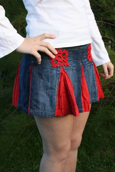 Hippie skirt - Upcycled mini denim with red crochet aplique SALE was 42.00. $40.00, via Etsy.