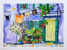 watercolour paintingstreet paintingstreet coloursblue by mozarte