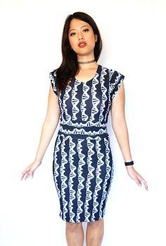 DNA Double Helix - Black and WHite Print STEM Dress - Deoxyribonucleic Acid Molecule Dress - Genetics Dress