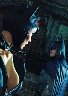 Batman and Catwoman exchange a glance in the video game Arkham City. Catwoman Cosplay, Cosplay Gatúbela, Batman Arkham Games, Batman Und Catwoman, Im Batman, Batman Art, Batgirl, Batman Robin, Catwoman Arkham City