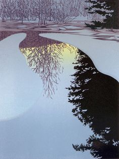 """""""Ice Dawn"""" 7-colour linocut by William Hays. http://www.theartistsloft.com/. Tags: Linocut, Cut, Print, Linoleum, Lino, Carving, Block, Woodcut, Helen Elstone, River, Lake, Ice, Reflections, Trees."""