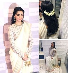 Sonam at anavila misra store Saree Hairstyles, Open Hairstyles, Ethnic Hairstyles, Bride Hairstyles, Engagement Hairstyles, Sonam Kapoor Hairstyles, Traditional Hairstyle, Bridal Hairdo, Indian Wedding Hairstyles
