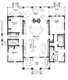 great floor plan modern dog trot small floor plansopen floor house - Open Floor House Plans