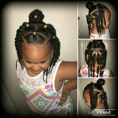 Not sure what to call this, but I just wanted to try something different to my daughter's hair and I can't cornrow so 2 strand twist it is til I get someone to braid her hair. Princess Zurayè Reginae everyone. Lil Girl Hairstyles, Black Kids Hairstyles, Natural Hairstyles For Kids, Kids Braided Hairstyles, Princess Hairstyles, Toddler Hairstyles, Holiday Hairstyles, Ponytail Hairstyles, Updo Hairstyle
