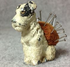 Small Antique Pincushion Cold painted Spelter Airedale puppy Dog Pin Cushion