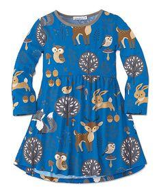 Sunshine Swing Blue & Gray Woodland Animal Swing Dress - Toddler & Girls | zulily