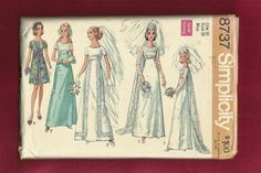 1971 Simplicity 8737 Wedding Gown with Empire Waist by MrsWooster, $11.00