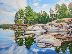 Acrylic on Gallery Canvas French River Watercolor Landscape, Landscape Art, Landscape Paintings, Watercolour, Landscapes, Amazing Paintings, Canadian Artists, Painting Inspiration, Serenity