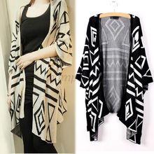 Mulheres malha Cardigan solto Batwing camisola casacos femininos casacos camisolas casacos geométrica 50(China (Mainland))