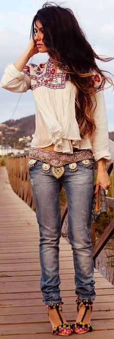 Sexy modern hippie look with boho chic tunic top and gypsy inspired embellished belt.