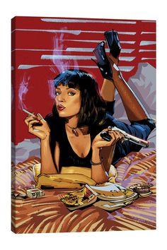 Canvas Artwork, Cool Artwork, Canvas Prints, Art Prints, Arte Pulp Fiction, Mia Wallace, Movie Poster Art, Pulp Art, New Print