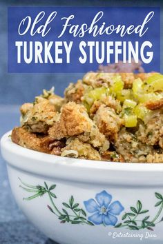 This traditional turkey stuffing recipe made with bread, onions, celery, and sage is delicious! It tastes just like the old fashioned turkey dressing my grandmother used to make for Thanksgiving. And it can be cooked in the bird or in a pan. Traditional Turkey Stuffing, Traditional Thanksgiving Dinner Menu, Stuffing Recipes For Thanksgiving, Christmas Recipes, Bread Stuffing For Turkey, Thanksgiving Menu, Pan Stuffing Recipe, Christmas Desserts, Awesome Stuffing Recipe